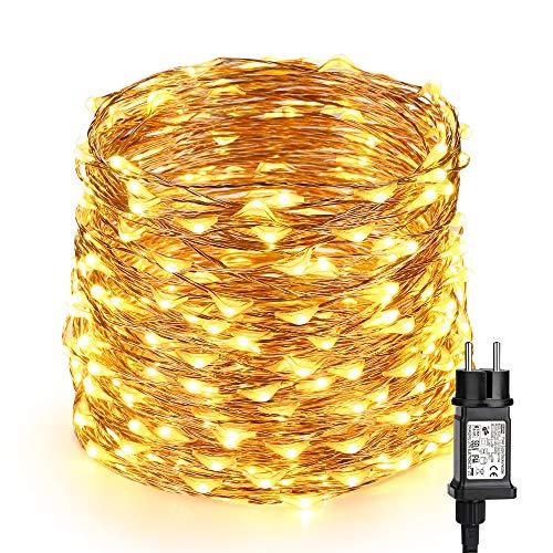 Kupferdraht Lichterkette, VegaHome 20M 200 LEDs Kupfer Firefly Lichter 8 Modi Wasserdicht Sternen Lichterketten mit Schalter für Außen Hochzeit Party Garten Weihnachten, Warmweiß [Energieklasse A++]