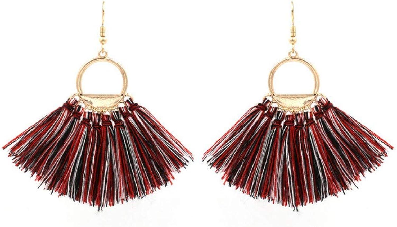 Women's Earrings Cotton Handmade Tassel Earrings Ethnic Style Wild Tassel Earrings colorful, Ladies Birthday Gift