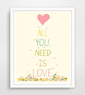 Children's Wall Art / Nursery Decor All You Need Is Love by Finny and Zook ** FRAME NOT INCLUDED