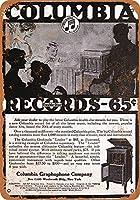 メタルティンサイン装飾鉄絵、1915年コロンビア蓄音機、バレンタインデーのガールフレンドのボーイフレンドの記念日のためのギフトメタルサイン