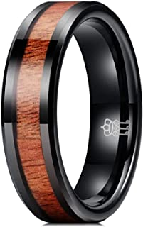 THREE KEYS JEWELRY 6mm 8mm Tungsten Wedding Ring with Real Koa Wood Inlay Rose Gold Black Engagement Band Ring
