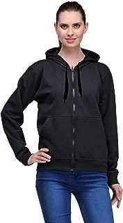 Josh Daniel Women's Rich Cotton Pullover Hoodie Sweatshirt with Zip - Black