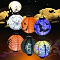 6-Pack Gaekce Halloween Decorations Paper Lanterns with LED Light
