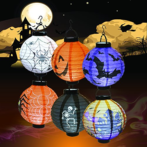 Halloween Decorations Paper Lanterns with LED Light for Holiday Home Party, 6 Pcs, Bats,Spiders, Skeleton, Jack-O, Castle, with Halloween Goodie Bag