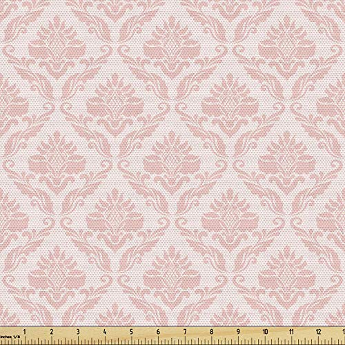 Lunarable Blush Fabric by The Yard, Damask Motif Retro Design of Floral Pattern Swirling Petals and Branches, Decorative Fabric for Upholstery and Home Accents, 2 Yards, Pink White