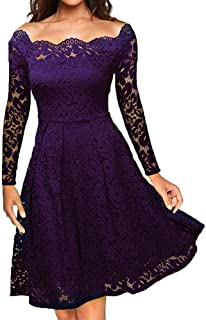 Yutao Dress Off Shoulder, Women Vintage Lace Formal Evening Party Dress Long Sleeve Dress