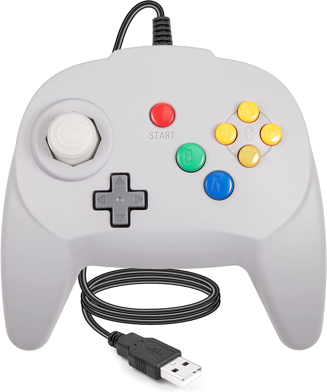 LUXMO PREMIUM Wired USB Controller for N64 Games, Classic USB Gamepads Joystick for Windows PC MAC Raspberry Pi3 (Grey)