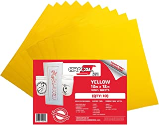 (10 Sheets) Oracal 651 Yellow Adhesive Craft Vinyl for Cricut, Silhouette, Cameo, Craft Cutters, Printers, and Decals - 12