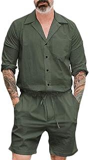 GAGA Mens Short Sleeve Button Down Drawstring Waist Lapel Collar Jumpsuit Shorts