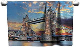 DUCKIL Sports Towel London Decor Collection Vista of Tower Bridge at The Dramatic Sunset with Blurred Thames River and Clouds Picture Popular Bath Sheets 39 x 20 inch Ivory Peach