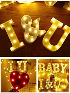 Light Up Letters,Neon Number Sign Wall Decorative Neon Lights Warm White Letter Lights Night Lamp for House Bar Pub Hotel Kids Room, Living Room, Birthday Wedding Party Decor (I U)