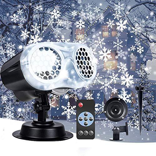 VIFLYKOO Projecteur LED, Lampe Projecteur Flocon de Neige Double Tête , IP65 Étanche Projecteur Flocon de Neige Effet de Lumières de Neige avec Télécommande Décoration pour Noël, Fête, Mariage