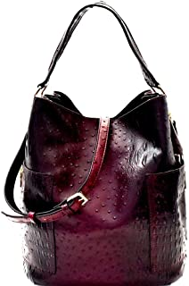 Ostrich Print Vegan Leather Side Pocket 2 in 1 Tall Large Hobo Bag Crossbody