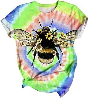 ESKNAS Womens T Shirt Summer Tie-dye 3D Print Short Sleeve Tee Tops O-Neck Casual Loose Tunic Blouse