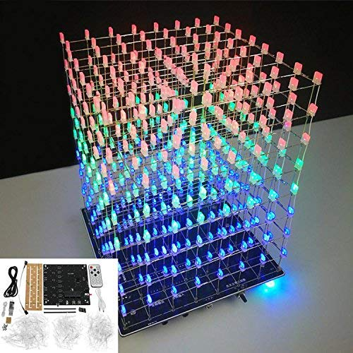 LaDicha DIY WiFi App 8X8X8 3D Light Cube Kit Rot Blau Grün Led Mp3 Musikspektrum Electronic Kit Kein Gehäuse