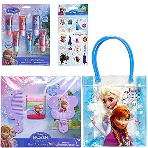 4-Piece Disney Frozen Holiday Hair and Beauty Accessory Gift Set For Kids - 1 Hair Accessory Set (Comb, Mirror & Hair Ties), Kids Fruity Lip Gloss (6 Pack), 1 Pack of Frozen Stickers (Featuring Anna, Elsa, Olaf & Kristoff), 1 Frozen Handle Bag (To Carry It All) Plus Frozen Nail File - Best Stocking Stuffers For Girls