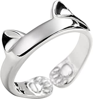 925 Sterling Silver Jewelry Kitty Cat Paws Ears Open Tail Knuckle Ring Women