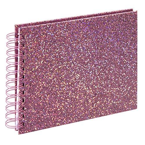 Hama Fotoalbum 24x17 cm (Spiralalbum mit 50 weißen Seiten (25 Blatt), Glitzer Fotobuch für 50 Fotos im Format 10x15 cm, Album zum Selbstgestalten und Einkleben) rosa