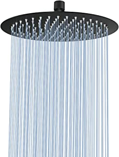 12 Inch Rain Shower Head, NearMoon Large Stainless Steel Bath Shower, Ultra Thin Design Rainfall Booster Showerhead Waterfall Body Covering, Easy to and Install- Ceiling or Wall Mount (Matte Black)