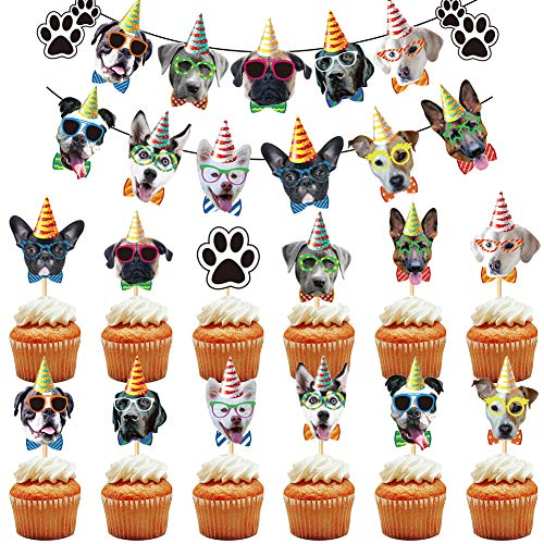 BESTZY 25PCS Dogs Cupcake Topper Prime Picks Decoration Birthday Cake Topper Dog Faces Birthday Banner Dog Birthday Garland for Dog Theme Party Bunting Decoration Supplies