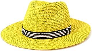 Wxcgbnstym قبعة الشمس، قبعة حمراء الصيف الشمس للنساء رجل شاطئ قشور قبعة للرجال واقية (اللون: أصفر)