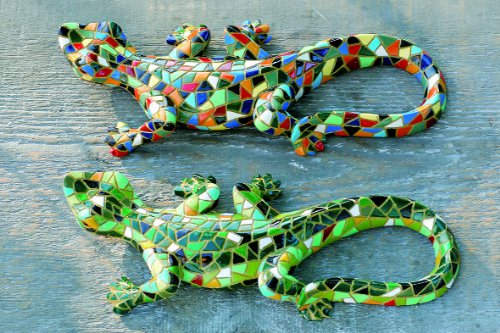 Deko Skulptur GECKO im Mosaik-Look - 2er Set