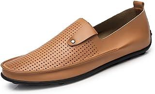 [QIFENGDIANZI] 靴 メンズ ドライビングシューズ カジュアルシューズ ローファー スリッポン モカシン デッキシューズ ビジネスシューズ お洒落 身長アップ 軽量 通気性 アウトドア ローカット 通勤 通学 黒 ブラウン