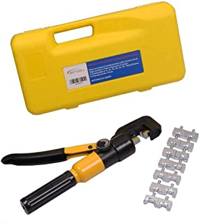 BETOOLL 10 Ton Hydraulic Wire Terminal Crimper Battery Cable Lug Crimping Tool With 8 Dies