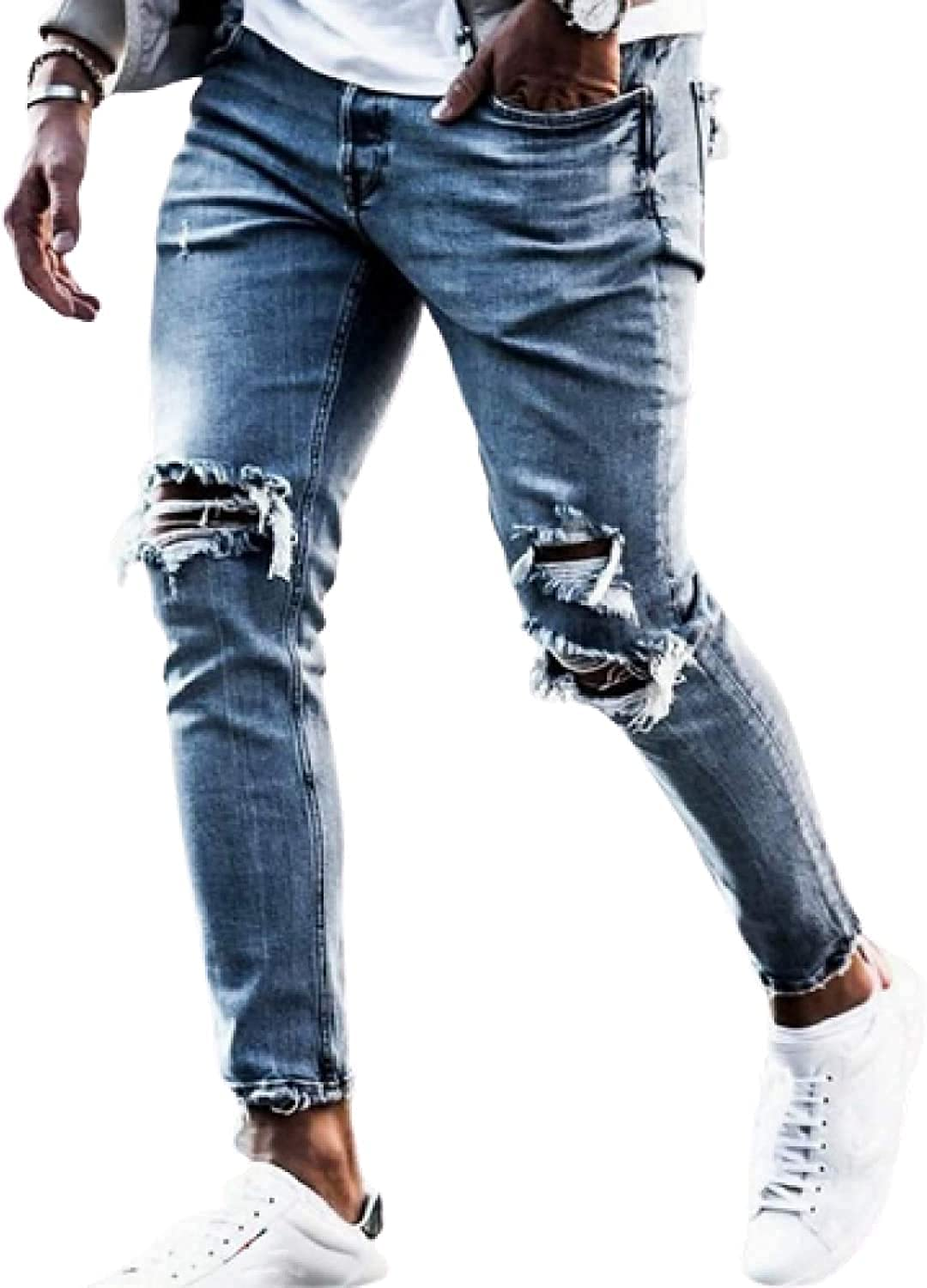 CHENX1NN Mens Denim Trousers Slim Fit Destroyed Skinny Jeans Fashionable Hole-Breaking