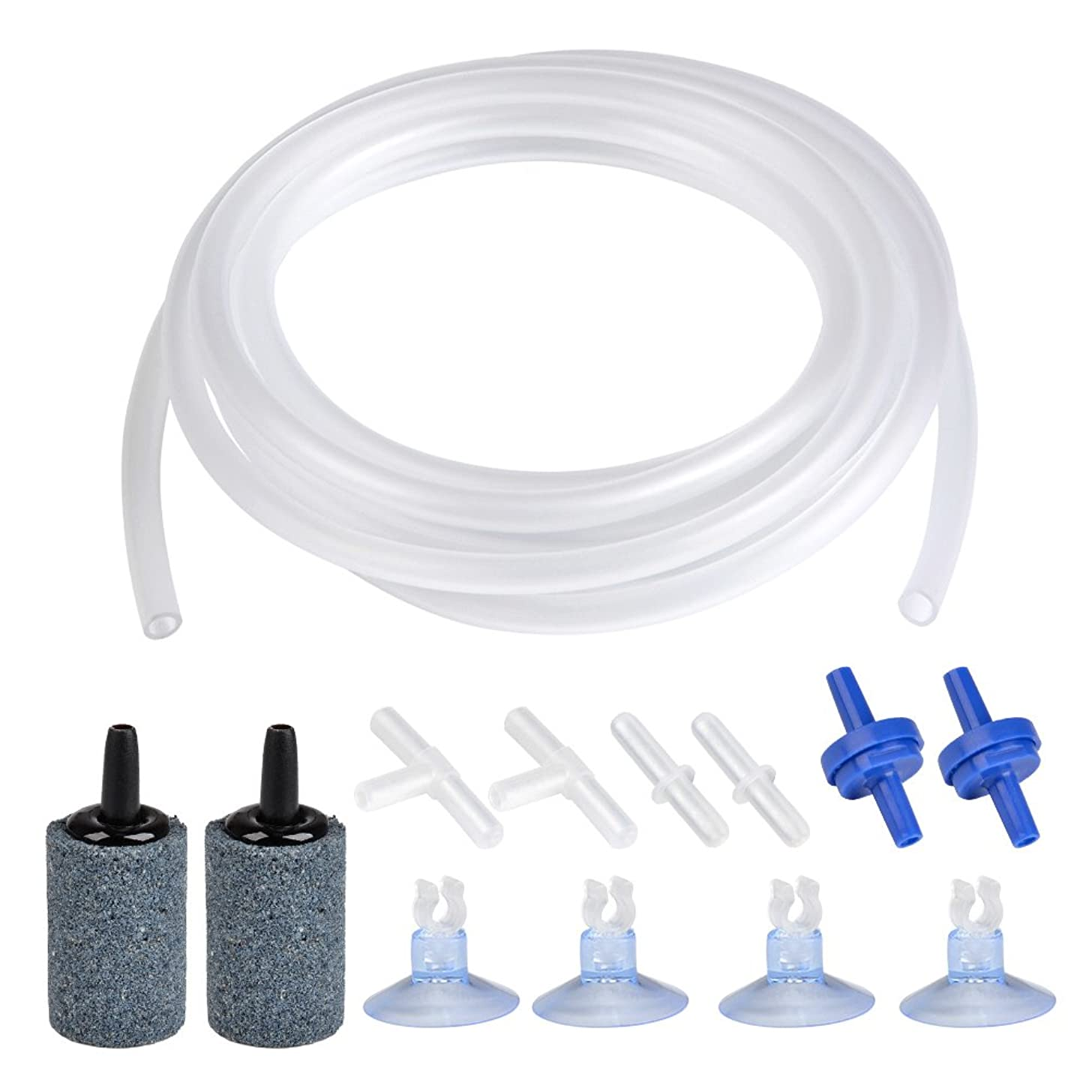ATPWONZ 6.5 Feet Standard 3/16 Airline Tubing Air Pump Accessories Set, 2 Bubble Release Air Stones + 2 Check Valves + 4 Suction Cup Clips + 2 Straight Connectors + 2 T-connectors