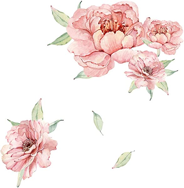 FunDiscount Shop Peony Rose Flowers Wall Sticker DIY Plants Wall Decals Peel And Stick Removable Floral Wall Art Bedroom Living Room Wall Mural Decor For Kids Nursery Room Home Decorations