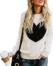 WAWJIR Women's Pullover Sweaters Long Sleeve Crewneck Cute Heart Knitted Sweaters