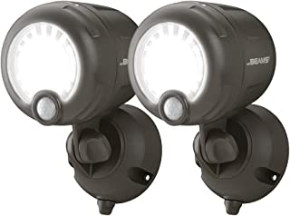Mr. Beams MB360XT Wireless Battery-Operated Outdoor Motion-Sensor-Activated 200 Lumen LED Spotlight, Brown, 2-Pack