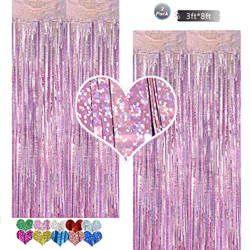 Foil Curtain Backdrop Purple 2 Packs 3ftx8ft Laser Party Backdrop Curtain,CYLMFC Rain Foil Fringe Curtains for Birthday Party Decorations Photo Booth Backdrop Christmas Halloween - Light Purple
