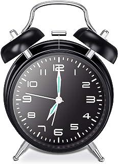 chaobai Doble Campanas Reloj Despertador con Luz NocturnaVintage Reloj Despertador analógico Silencioso sin Tictac Campana Fuerte Sonido