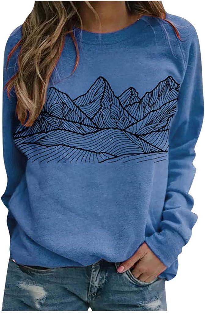 FABIURT Long Sleeve Shirts for Women Graphic Printed Sweatshirt Pullover Crewneck Tops Casual Loose Tunic T Shirt Blouse