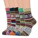 Zando Women's Fall Winter Hiking Socks Wool Socks for Women Boot Socks Vintage Wool Socks Soft Warm Socks Thick Knit Cozy Socks Crew Socks Shoe Size:5-9 Bright Color Snowflake