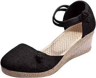 JJLIKER Women's Vintage Linen Closed Toe Wedge Espadrille Sandals Ankle Strap Comfort Mid Heel Sandals