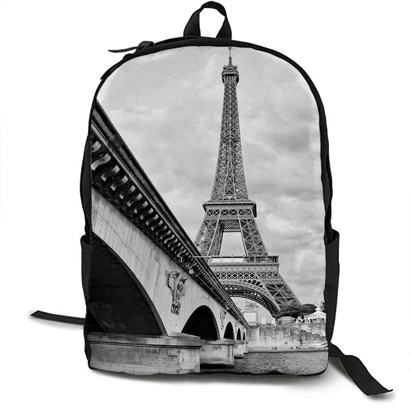 Eiffel Tower Unisex classic backpack Eiffel Tower Cloudy Sky View from Seine River under Bridge Monochromic Art Suitable for 16-inch laptops 16.5 x 12.5 x 5.5 Inch Black White