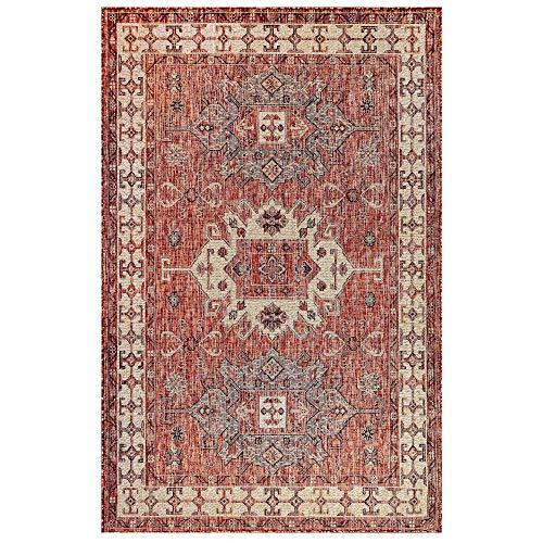 Liora Manne CRE69840924 Indoor/Outdoor Rug, 6'6' x 9'4', Kilim Red