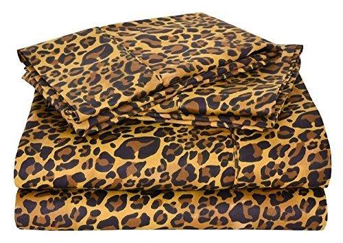 Juego de ropa de cama Victoria 100% de algodón egipcio de 650 hilos, con sábana bajera de 15 cm de profundidad, ultrasuave, elegante y cómodo, 100% algodón, Estampado de leopardo, doble pequeña