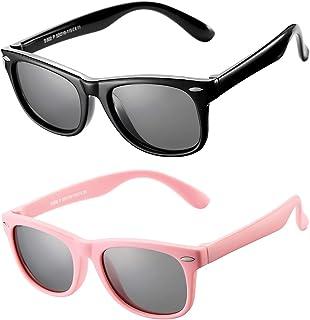 AZORB Kids Polarized Sunglasses TPEE Rubber Flexible Frame for Boys Girls Age 3-10, 100% UV Protection (Black Frame + ALL Pink)
