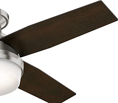 """Hunter Dempsey Indoor Low Profile Ceiling Fan with LED Light and Remote Control, 44"""", Brushed Nickel"""