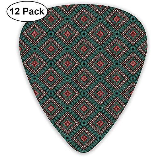 Gitaar Picks 12-Pack, Oude Grens Etnische Tribal Symbool Antiek Ontwerp Tegel Patroon Print