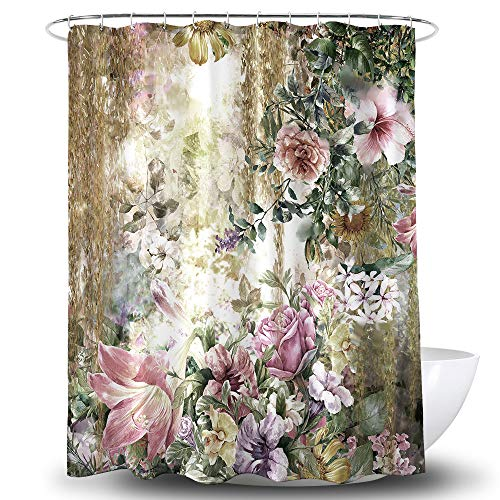 "Looca Fabric Shower Curtain Heavy Duty Bathroom Shower Curtains Water Repellent Weighted at Bottom with Reinforced Botton Holes for Bathroom Showers, Stalls, and Bathtubs, Machine Washable 72"" 72"""