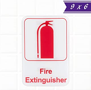 Fire Extinguisher Sign - White and Red, 9 x 6-inches Fire Exit/Fire Safety Signs by Tezzorio