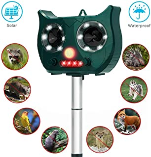 Fierre Shann Ultrasonic Animal Repeller with Solar Powered Waterproof Outdoor, Motion PIR Sensor and Flashing Light for Birds, Raccoons, Squirrels, Foxes, Rats, Etc.