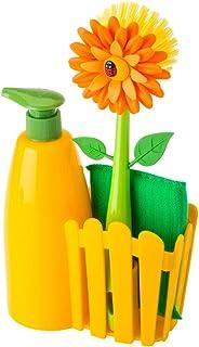 VIGAR Flower Power Set de Fregadero con Cepillo y Dosificador Jabon Cocina de Color Amarillo, Dimensiones: 14 x 7 x 26.5 cm