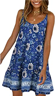 Women's Floral Slip Dress Casual Pockets Tunic Dress(XL, Blue)