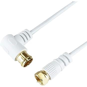 HORIC 極細アンテナケーブル 7m ホワイト BS/CS/地デジ/4K8K放送対応 F型差込式/ネジ式コネクタ L字/ストレートタイプ HAT70-247LSWH